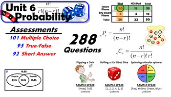 Common Core Geometry Unit #6 Probability Assessment Materials