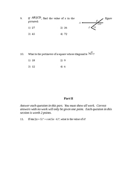 Common Core Geometry Unit 6 Test