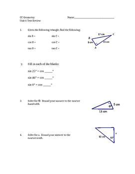 Common Core Geometry Unit 6 Test review