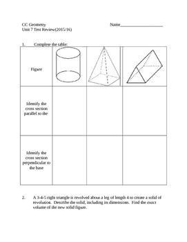 Common Core Geometry Unit 7 Test review