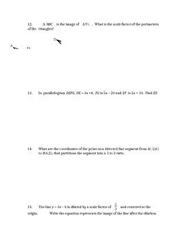 Common Core Geometry Unit 9 Test review