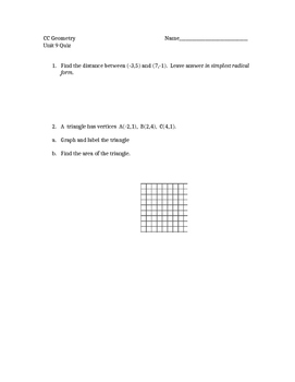 Common Core Geometry Unit 9 quiz