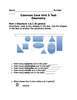 Common Core Geometry Unit Test