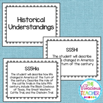 Common Core Georgia Performance Standards Posters Fifth Grade Social Studies