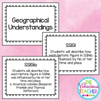 Common Core Georgia Performance Standards Posters First Grade Social Studies