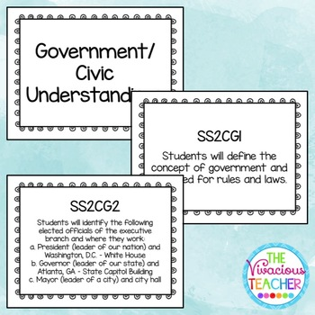 Common Core Georgia Performance Standards Posters Second Grade Social Studies