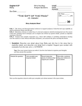 The Gift of the Magi Analysis Questions (Common Core)