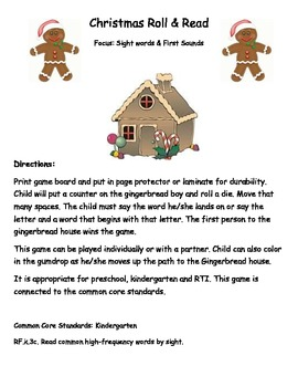 Common Core: Gingerbread boy Roll & Read