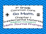 1st Grade Go Math Chapter 1 Math Journal Prompts Common Core