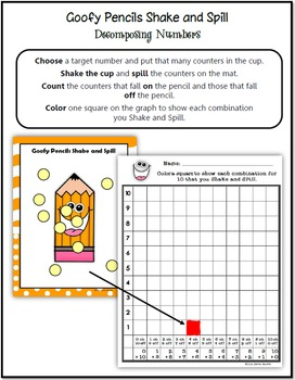 Common Core: Goofy Pencil Shake and Spill with Graphing, Decomposing Numbers