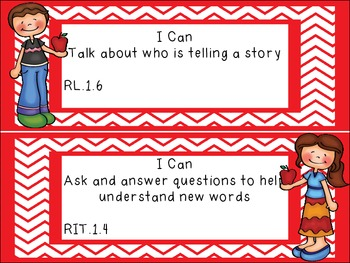 """Common Core Grade 1 """"I Can"""" Statements and Checklists for Reading"""