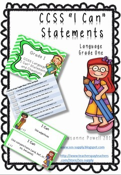 """Common Core Grade 1 """"I Can"""" Statements and Checklists Language Arts Bundle"""