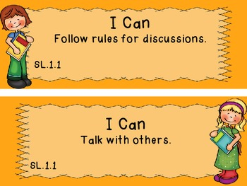 """Common Core Grade 1 """"I Can"""" Statements and Checklists for Speaking and Listening"""