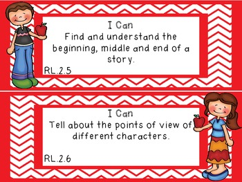 """Common Core Grade 2 """"I Can"""" Statements and Checklists for Reading"""