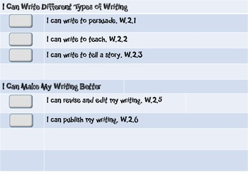 """Common Core Grade 2 """"I Can"""" Statements and Checklists for Writing"""