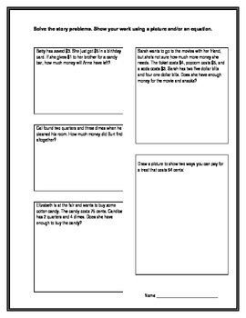 Common Core Second Grade Money Word / Story Problems