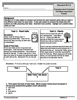 Common Core Grade 3:  Compare & Contrast Texts RI.3.9 Practice
