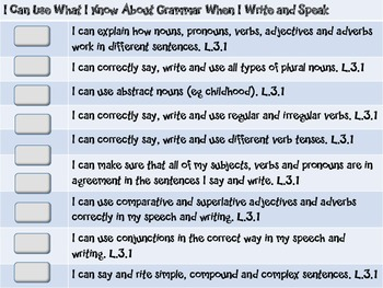 """Common Core Grade 3  """"I Can"""" Statements and Checklists for Language"""
