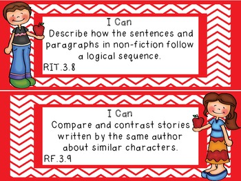 "Common Core Grade 3  ""I Can"" Statements and Checklists for Reading"