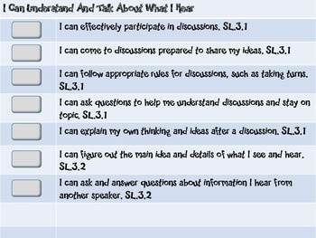 """Common Core Grade 3 """"I Can"""" Statements and Checklists for Speaking and Listening"""
