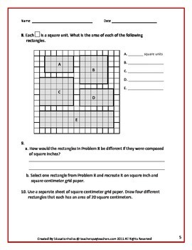 Common Core Grade 3 Multiplication and Area Review
