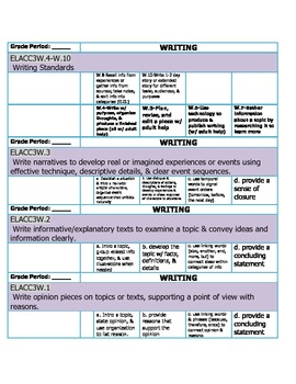Common Core Grade 3 Tracking Standards for a Gradebook