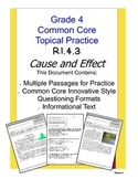 Common Core Grade 4:  Cause and Effect RI.4.3 Practice