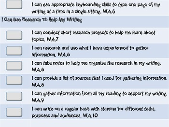 """Common Core Grade 4  """"I Can"""" Statements and Checklists for Writing"""