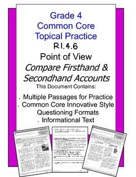 Common Core Grade 4:  Point of View Practice RI.4.6