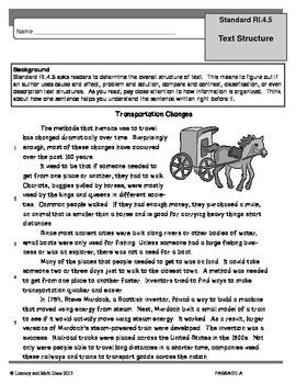 Common Core Grade 4:  Text Structure RI.4.5 Practice