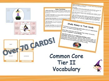 Common Core Grade 4 Tier 2 Vocabulary Task Cards - Differentiated - Study $ Game