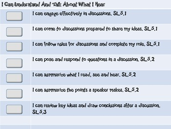 "Common Core Grade 5 ""I Can"" Statements and Checklists for Speaking and Listening"