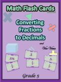 Common Core Grade 5 Math Flash Cards / Convert Decimals to Fractions - BOGO
