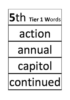Grade 5 Tier 1, 2, and 3 Vocabulary Words