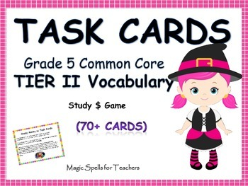 Common Core Grade 5 Tier 2 Vocabulary Task Cards - Differentiated - Study $ Game
