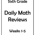 6th Grade Common Core Math Daily Review Weeks 1-5