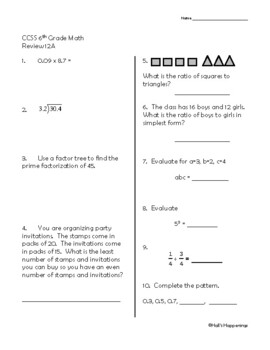 6th Grade Common Core Math Daily Review Weeks 11-15