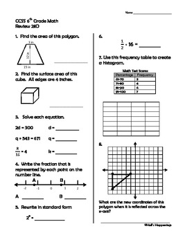 6th Grade Common Core Math Daily Review Weeks 26-30