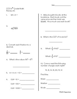 6th Grade Common Core Math Daily Review Weeks 6-10 by Jeni ...