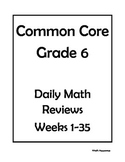 6th Grade Common Core Math Daily Review Bundle Weeks 1-35