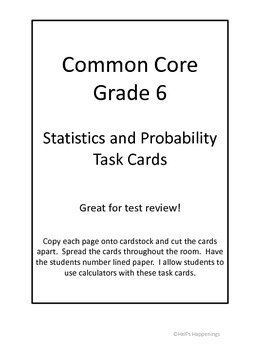 Common Core Grade 6 Statistics Task Cards