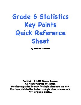 Common Core Grade 6 Statistics Unit Key Points Quick Reference Guide