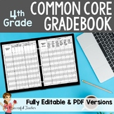 4th Grade Common Core Gradebook for your Teacher Binder
