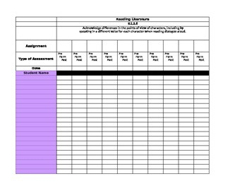 Common Core Gradebook for 2nd Grade Language Arts
