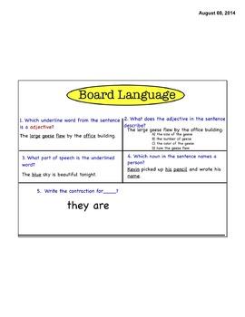 Common Core Grammar Board Language- L3.1