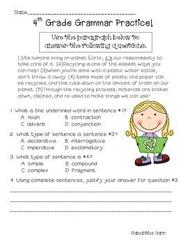 Common Core Grammar Practice for 4th Grade!