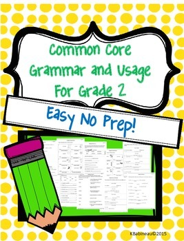 Common Core Grammar and Usage Grade 2 Easy No Prep Worksheets