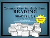 Common Core Graphic Organizers Grades  6, 7, 8 Multi-Use License