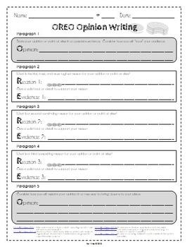Opinion essay graphic organizer