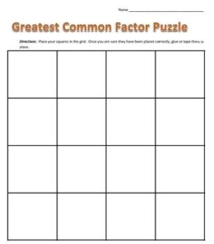 Common Core - Greatest Common Factor Puzzle - GCF Math Fun!
